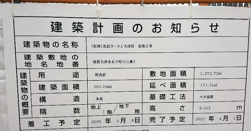丸源ラーメン大津店2021年5月末現在建設予定